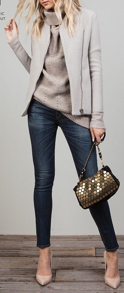 How to wear high neck sweater with jeans and high heels