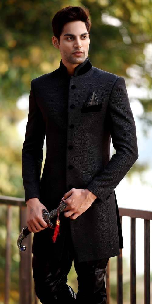 black sherwani for men