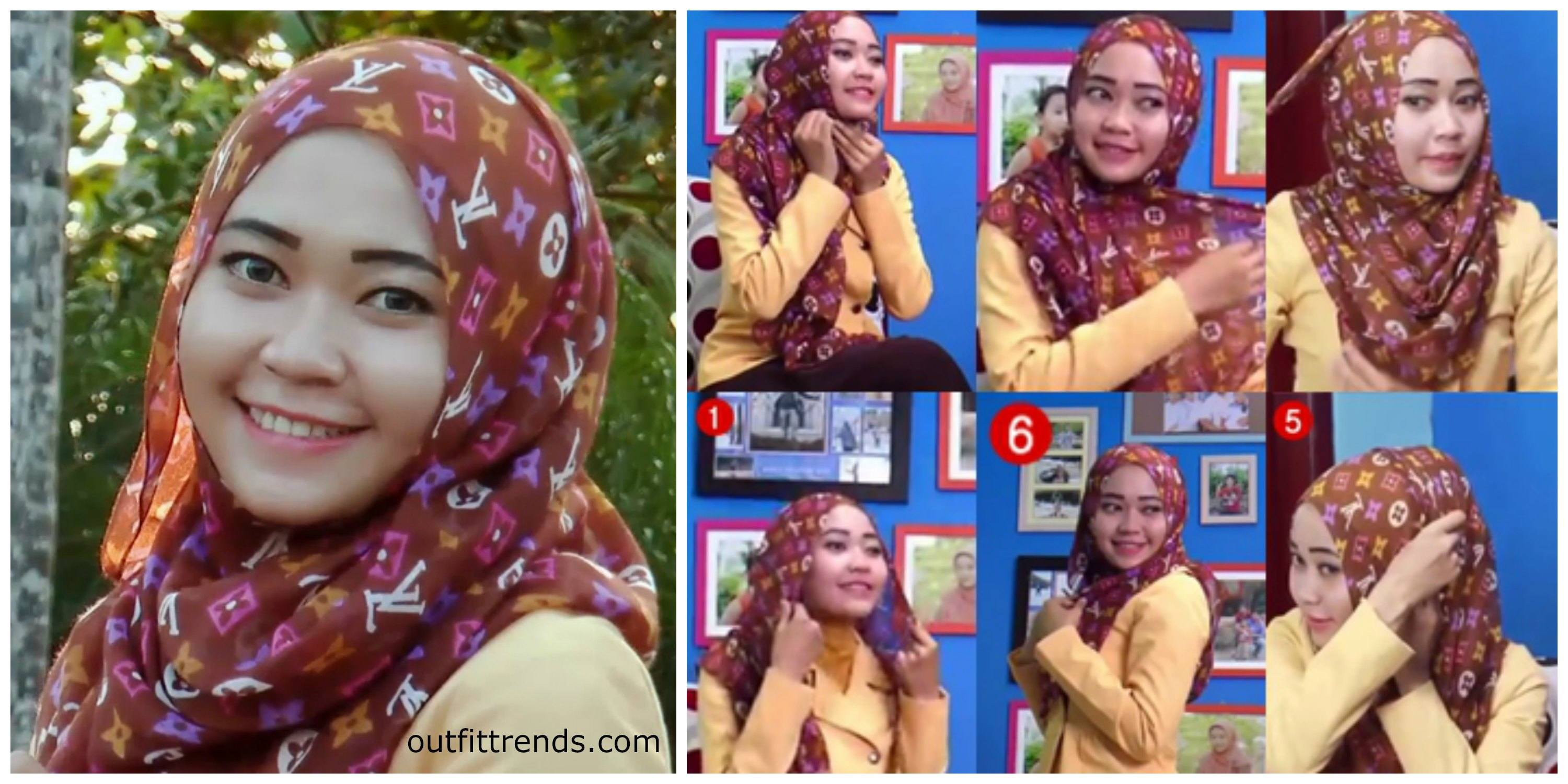 gambar tutorial hijab paris simple