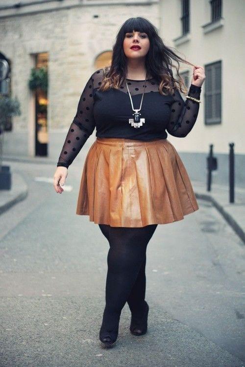 leather skirts curvy womn