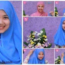 Kumpulan gambar tutorial hijab modern casual simple.