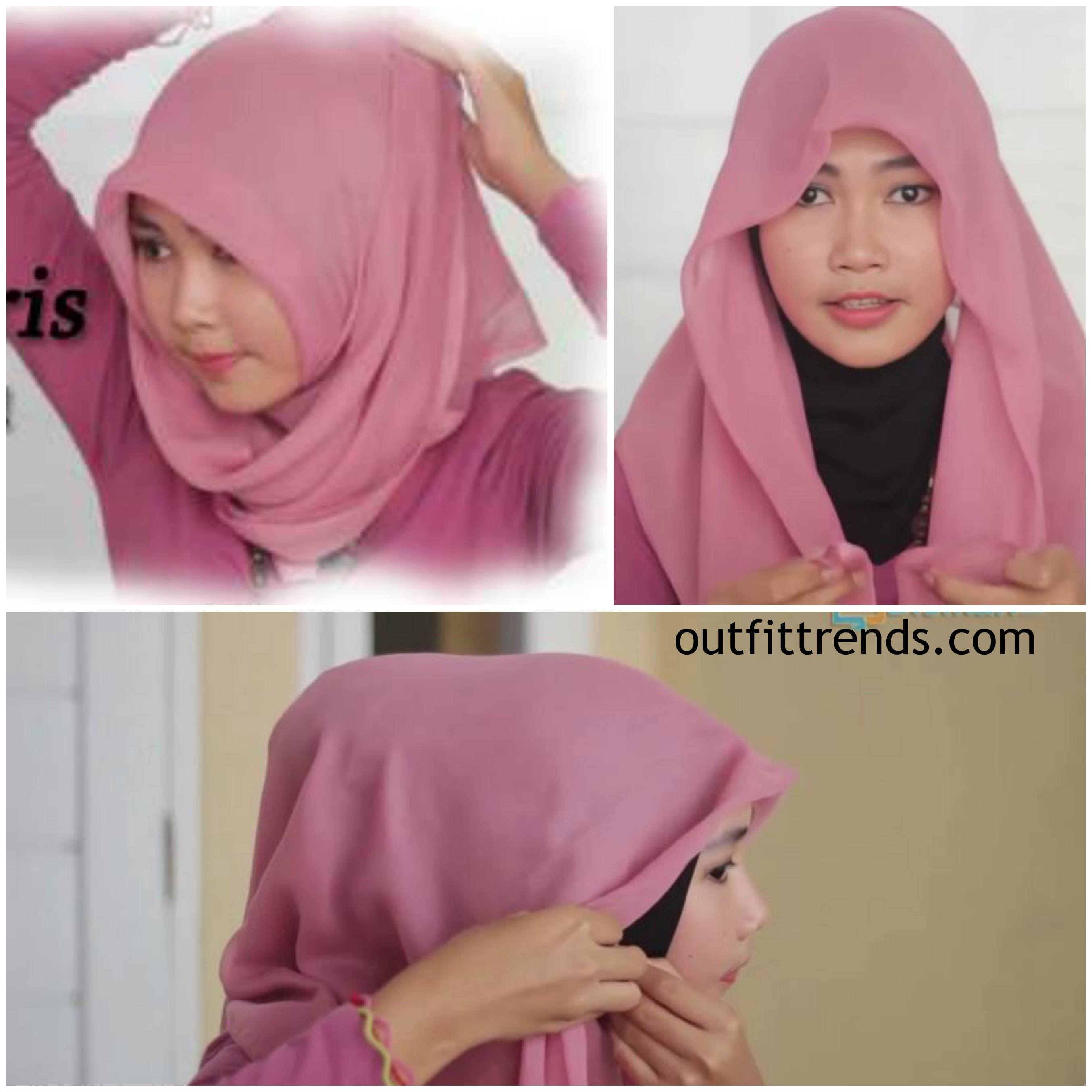 tutorial hijab paris step by step