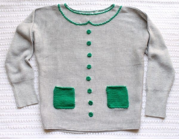 SWEATER MAKEOVER – NEW COLLAR, CROCHET BUTTONS, AND KNIT POCKETS