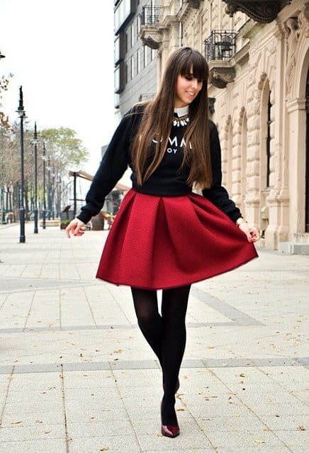 outfits to wear with skirts for fall (6)