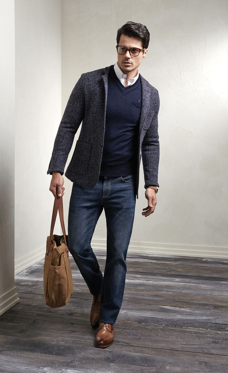 How To Wear Jeans At The Office Or For Business Meeting Idea Winter Work Men Outfits