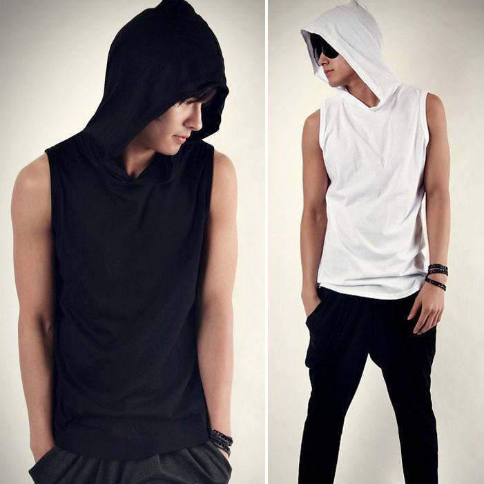 Black and White Sleeveless Hoodie