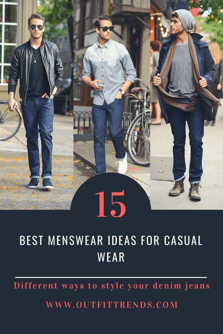 casual outfits for guys with denim jeans