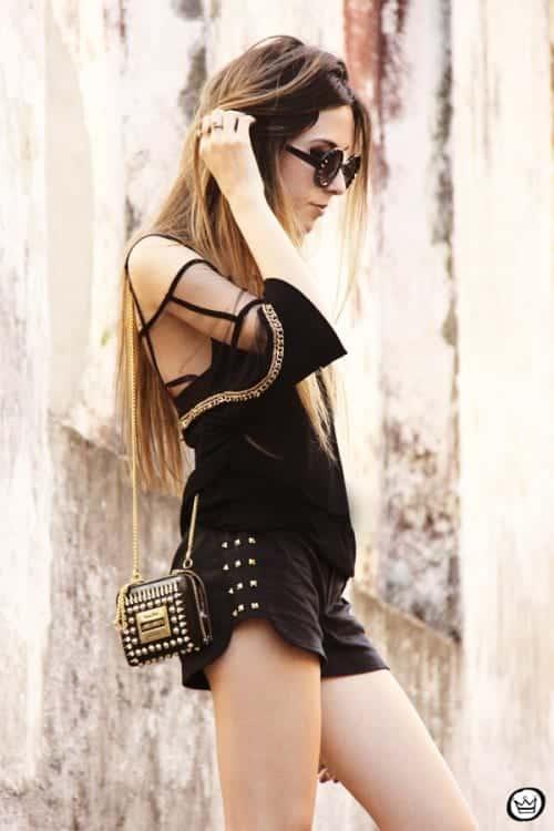 black denim studded shorts