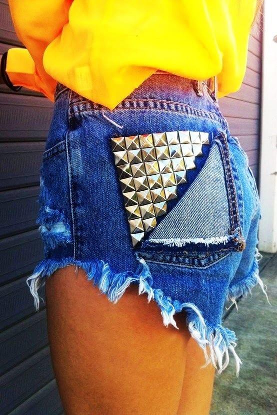 studded high waisted jean shorts