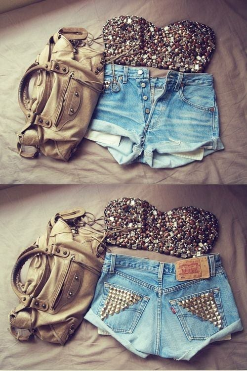 what to wear with denim studded shorts25 cute outfits ideas