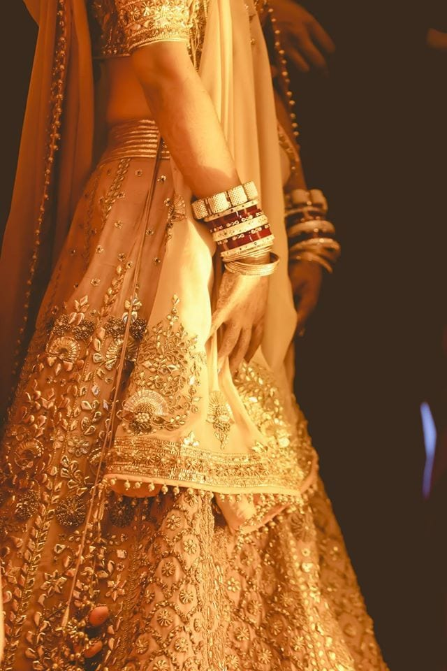 pastel bridal lehenga in salmon