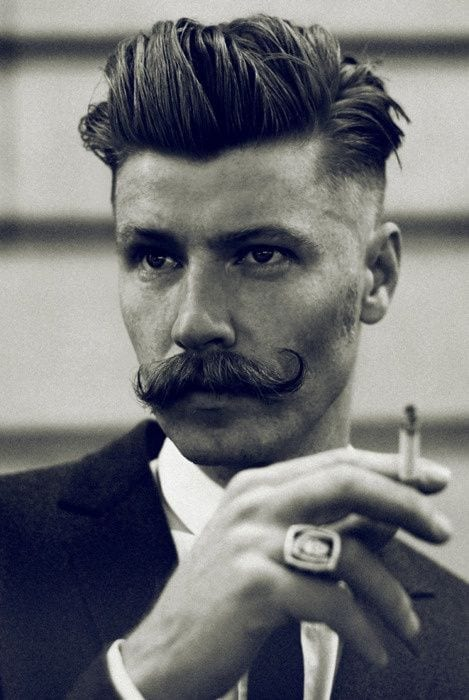 classy hairstyles with moustaches