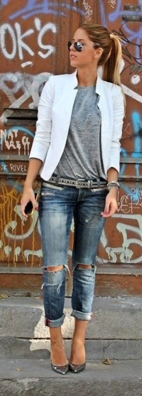 51fe63eacb ... ripped jeans outfit. cute13. 13. Sexy Outfit – Wear a romper-style  outfit