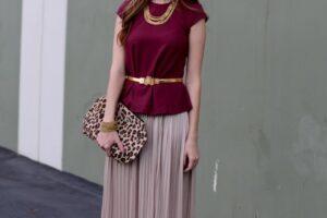 peplum top with maxi skirt