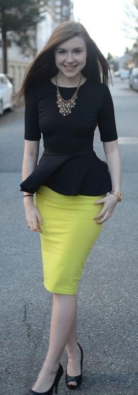 peplum top with pencil skirt