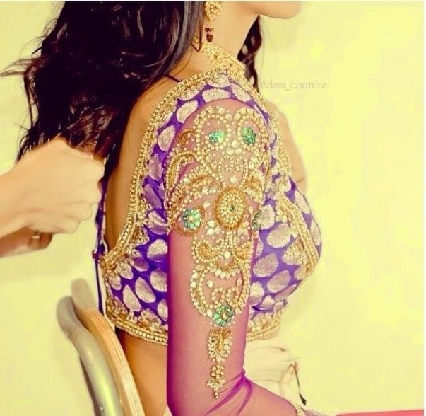 Quarter Sleeves Brocade Work Blouse Saree Blouse Patterns