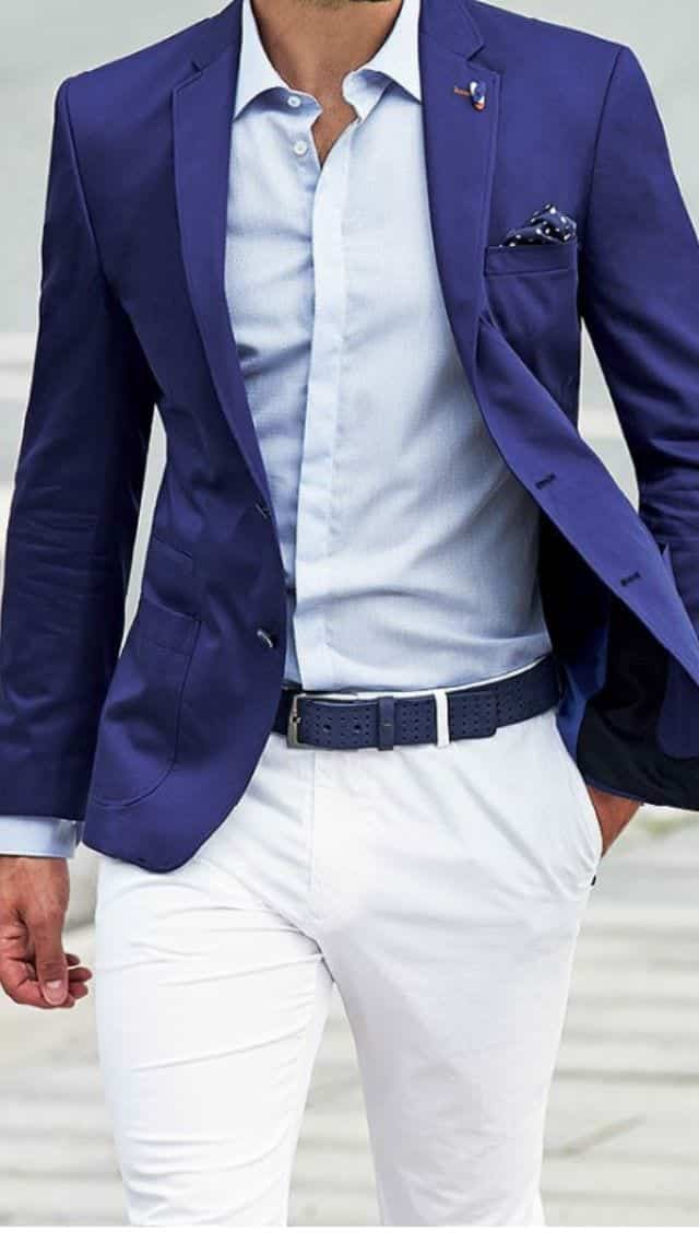 blue blazer and white pants