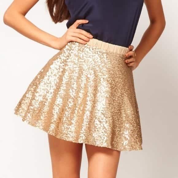 sequins mini skirt