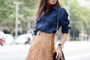 Outfits to wear with suede skirts (6)