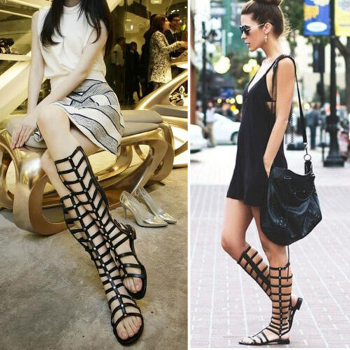 O085-Women-Flat-Bandage-Sandals-Flats-Sexy-Knee-High-Boots-Gladiator-Sandals-Fashion-Shoes-Women-Knee