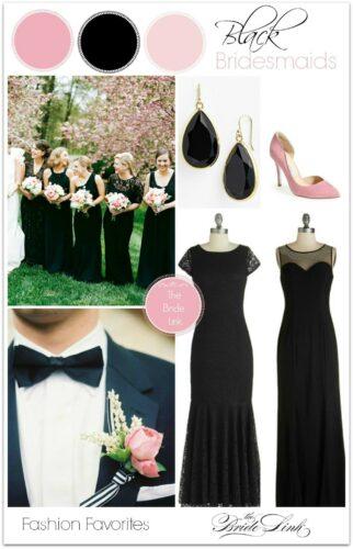 pink-and-black-bridesmaids-dresses