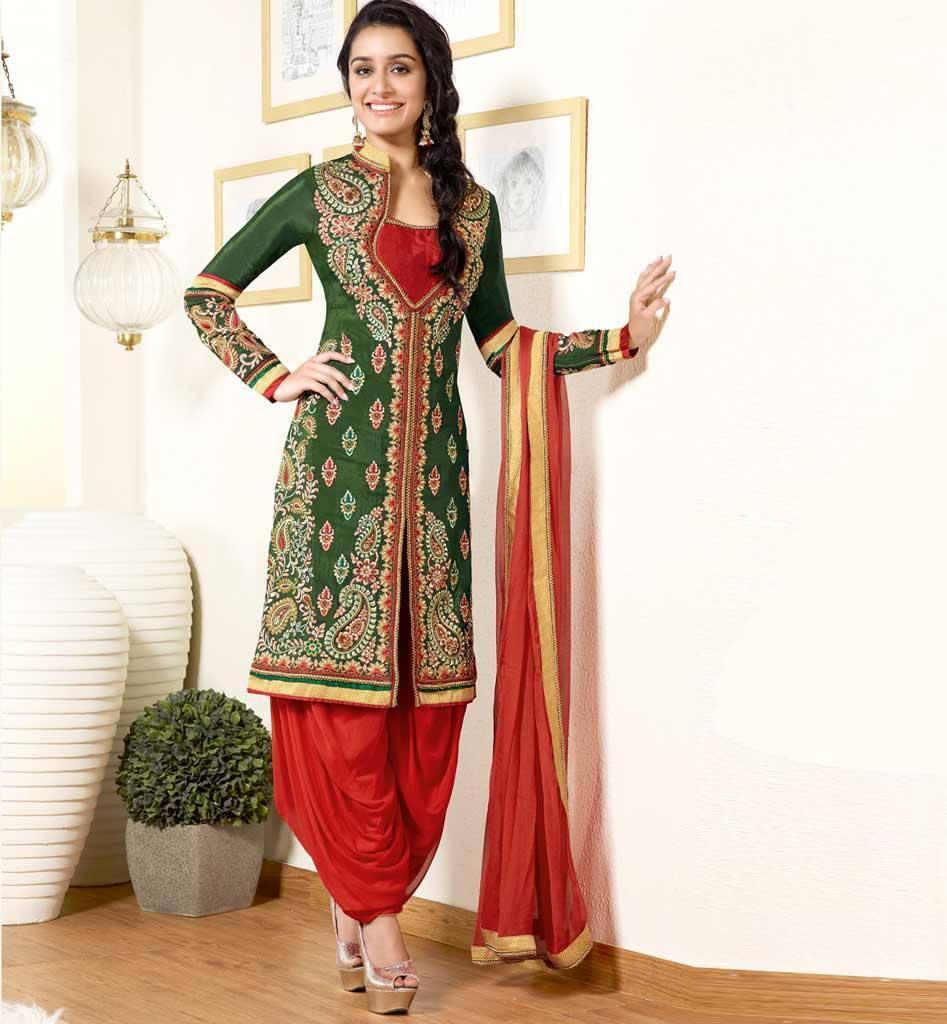 1128B_Green_Kurti_with_Orange_patiala_salwar_shraddha_kapoor_Khwaab_anmol_collection_new_colors