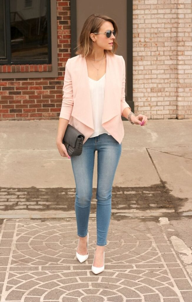 f8c01f07e45a Simply adding a blazer to any outfit will make it wearable to a house  party. The best way to rock this combo is to wear white high heel with it.