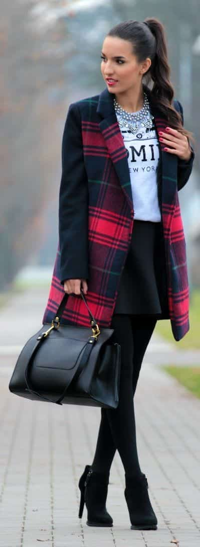 18 Cute Outfits To Wear With Plaid Coats