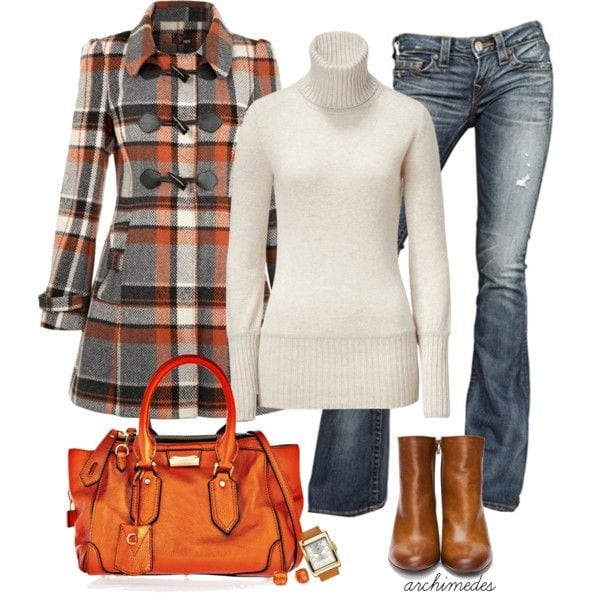 cute outfits with plaid coats 6