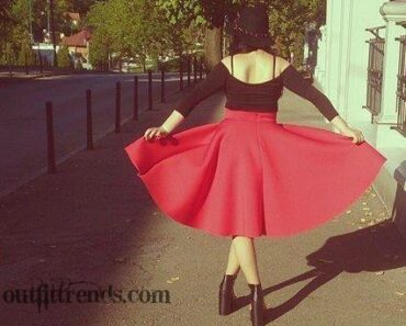 what to wear with red skirt (2)