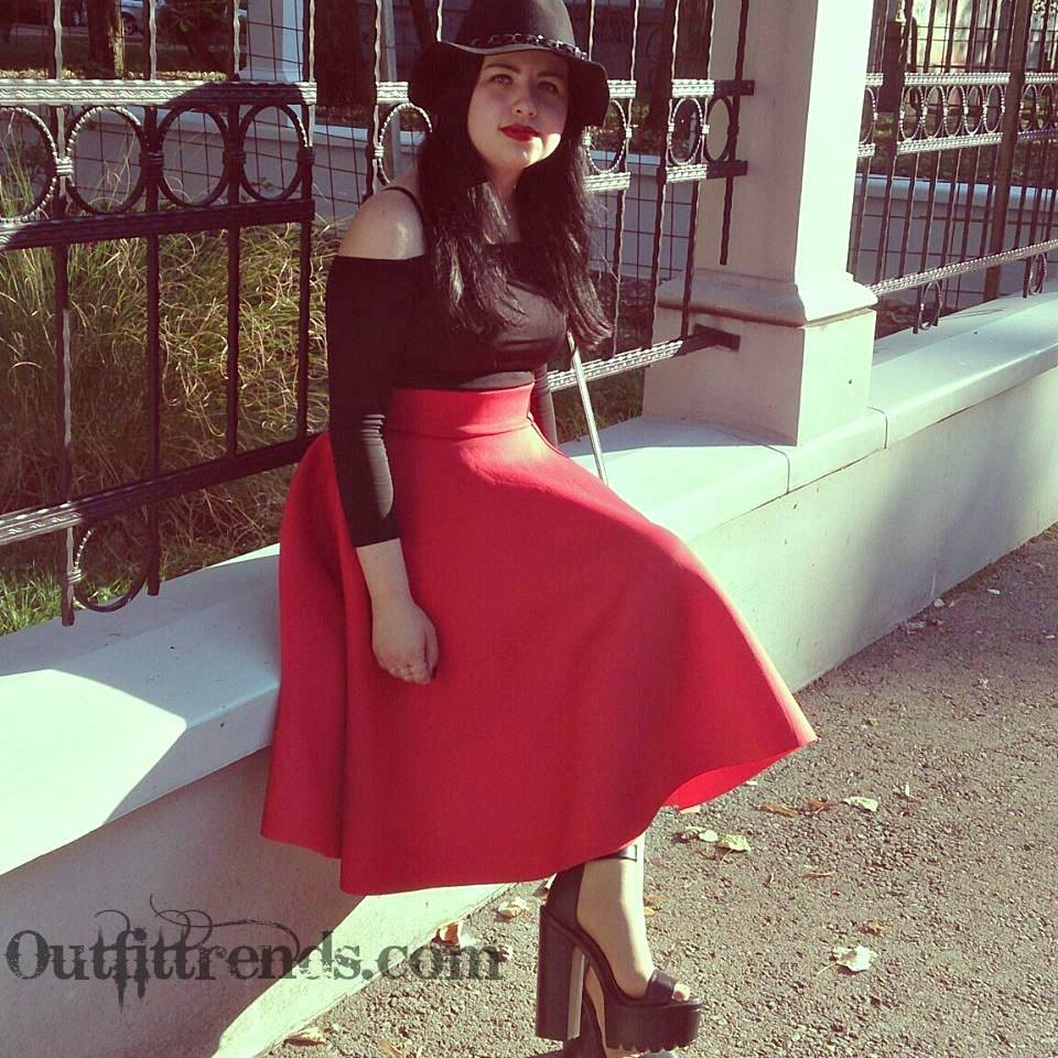 what to wear with red skirt (1)