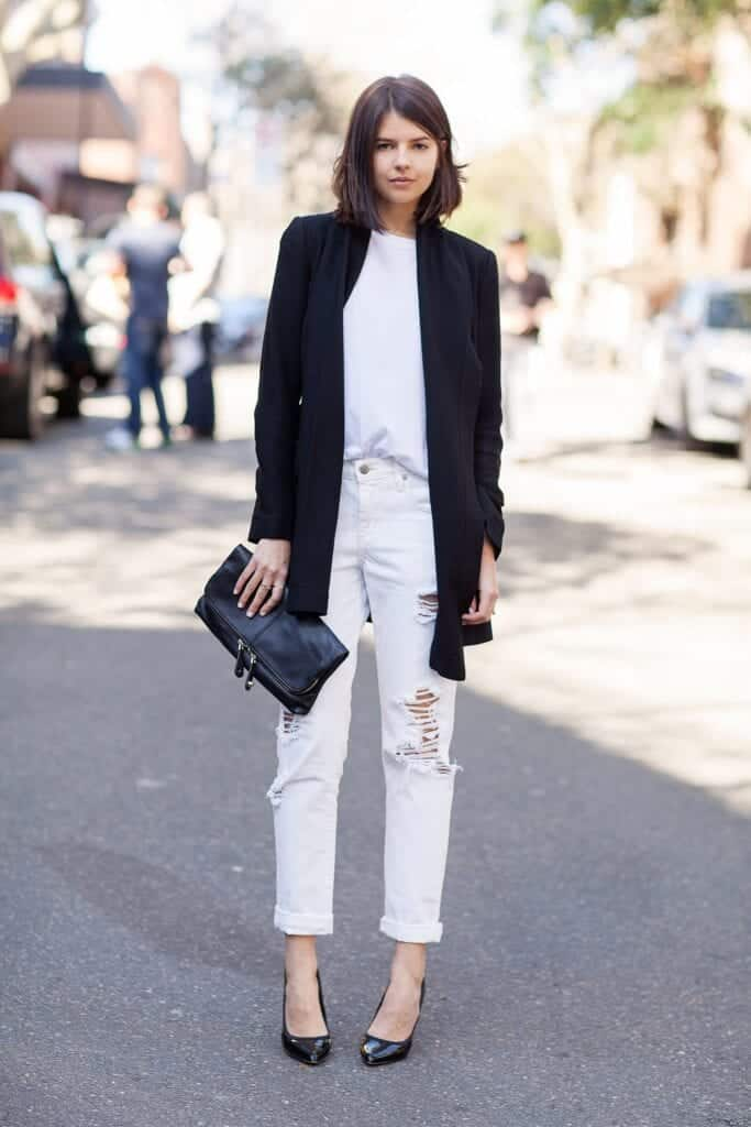 Fashionable ways to wear white jeans (3)