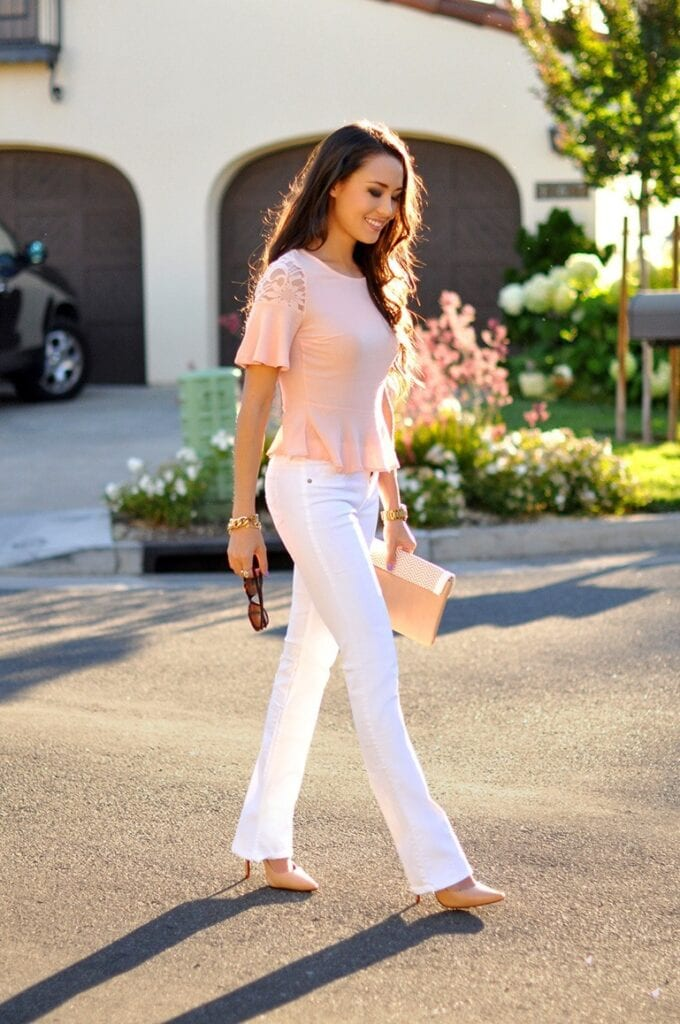 Fashionable ways to wear white jeans (4)