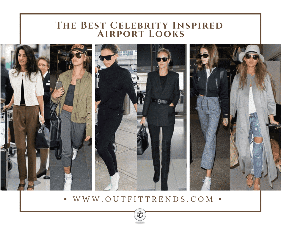 airport travel outfits celebrity style
