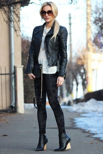 How to Wear Velvet Leggings-18 Cute Outfits with Velvet Leggings