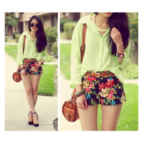 Outfits with floral shorts (8)