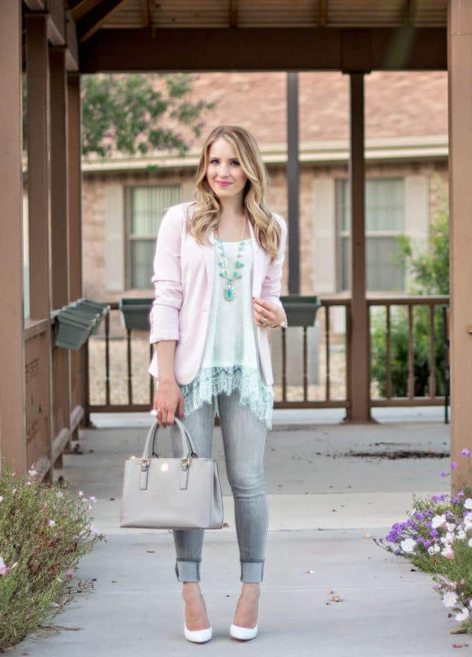 17bafdd93ab Outfits with Pale Pink Blazers- 19 Ways to Wear pink Blazers
