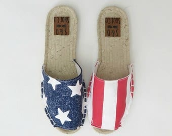 Womens USA flag espadrilles