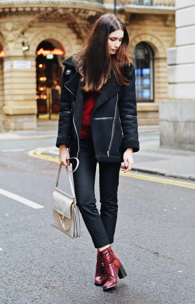 How to wear Shearling Boots - Ideas to wear Dresses with boots (12)