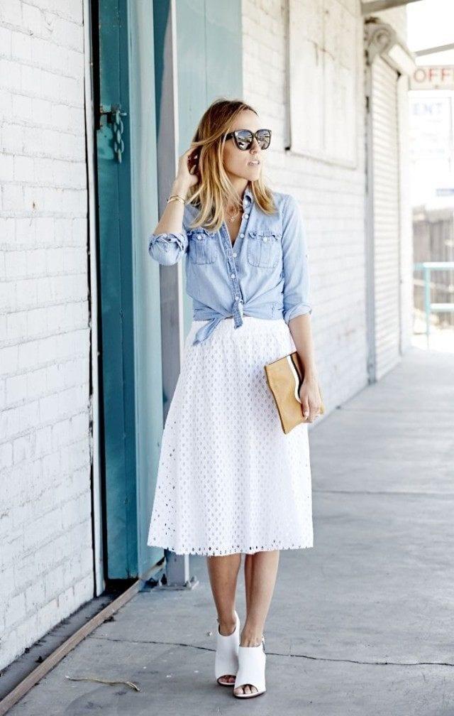 white-midi-skirt-chambray-shirt-denim-shirt-sunglasses-preppy-summer-ladylike-work-mules-via-damsel-in-dior-640x1008