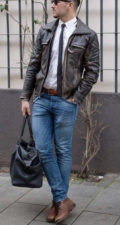 Ideas for Men to wear Leather Jackets (9)