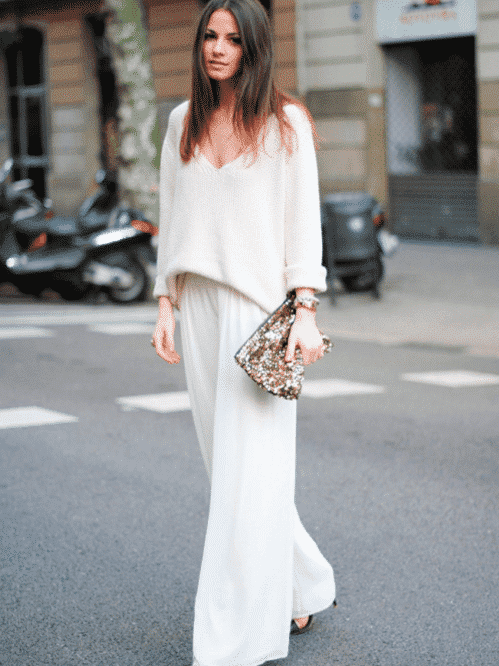 a577cb9b77 How to Wear White Wide Leg Pants-10 Outfit Ideas with Wide Pants