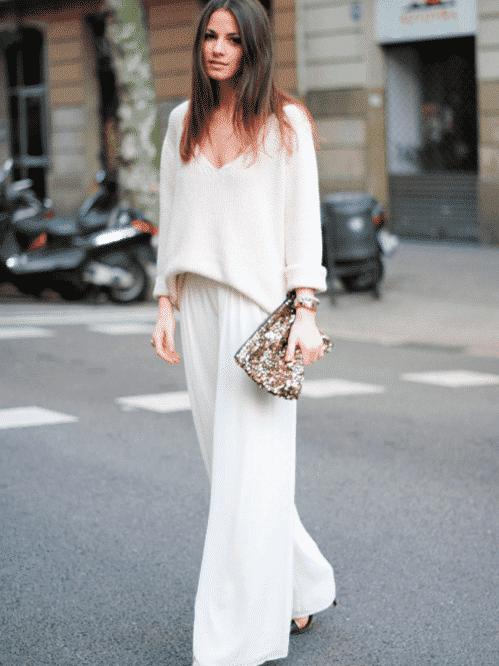 white wide leg pants street style