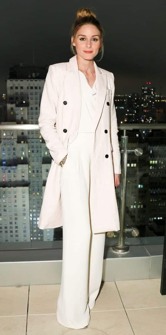 white wide leg pants winter celebrity style