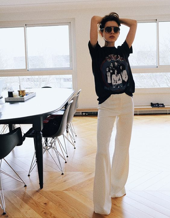 white wide leg pants with tee