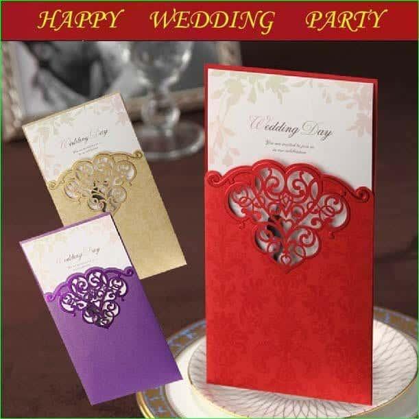 50set wedding card wedding invitation purple champagne red - Wedding Invitation Cards