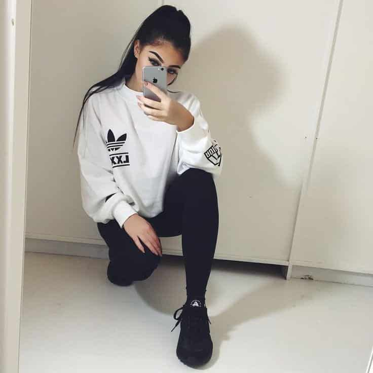 30 Cute Outfits with Adidas Shoes for Girls to try this Year 9263499dc