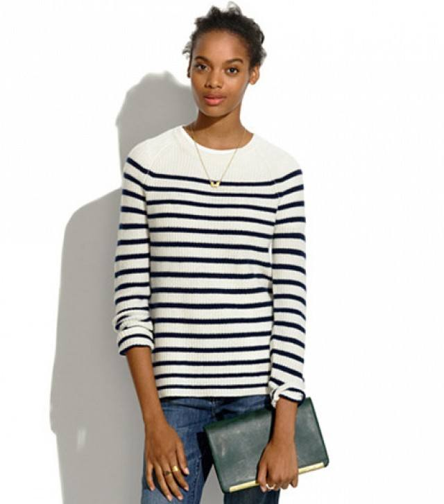 b11a7fdabd ... stripe sweater as a top with any sort of pants that you are comfortable  in. You can add a simple pendant and carry your hair in a top knot along a  black ...