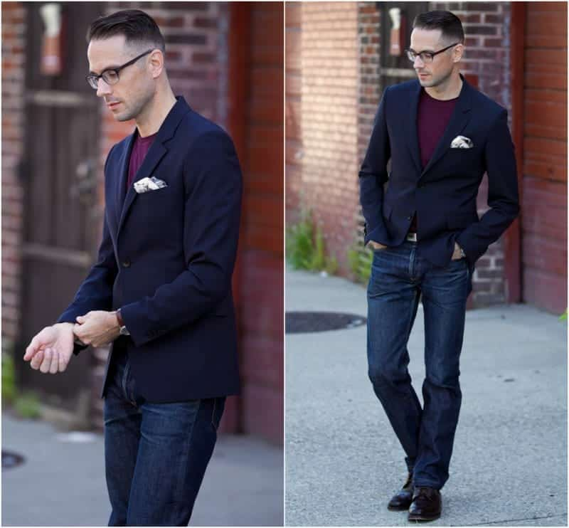 02c59634f3 The idea is to simply wear denim pants with a blazer. This is a smart and  casual way to dress up and can be worn to weddings without looking way too  ...