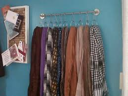 Shower Curtain Rings in Towel Holder to Organiz Hijabs